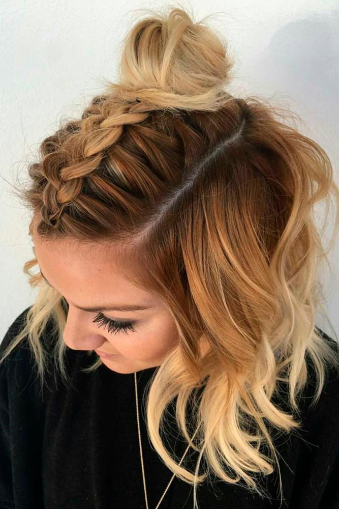 Top-Wide-French-Braid-with-a-Bun Christmas Party Hairstyles to Enhance Your Look