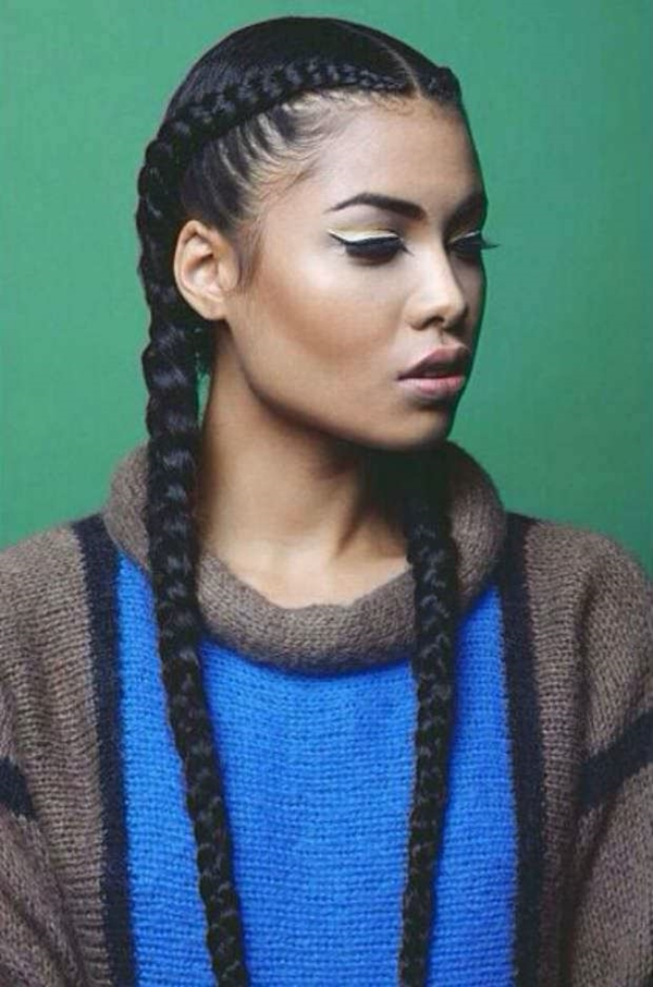 Twin-Cornrow-Braids Stylish and Stunning African American Braids