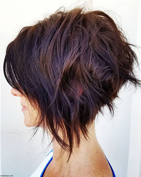 ASYMMETRICAL-STACKED-BOB Short Messy Bob Hairstyles 2020