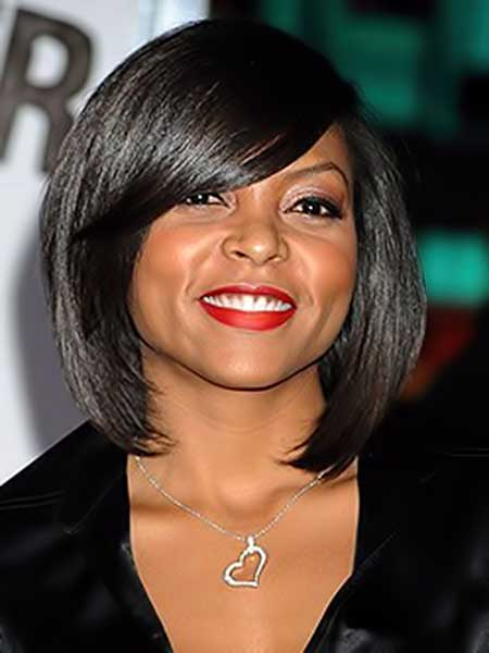 Alluring-and-Pretty-Asymmetric-Bob-Hair-with-Nice-Side-swept-Bangs Short Hairstyles for Black Women 2020