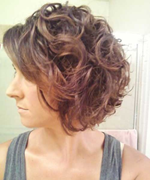 Chic-Short-Curly-Brown-Bob Best Bob Cuts for Curly Hair