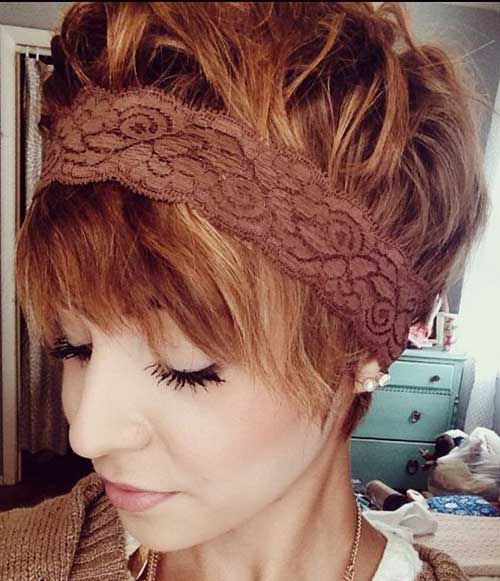 Cute-Layered-Red-Hair-with-Headband Cute Easy Short Haircuts