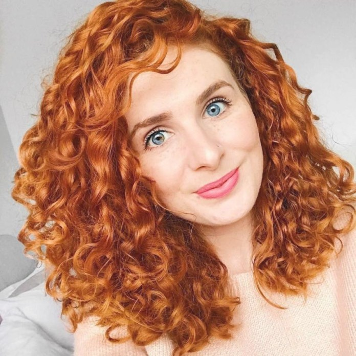 Fiery-Red-Medium-Length-Curly-Hair Cute Curly Hairstyles for Women