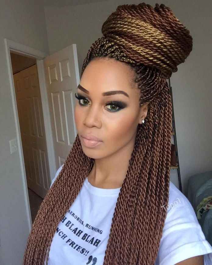Full-Braids-and-Bun Most Coolest Twist Hairstyles for Amazing Look