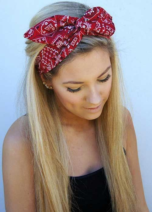 Long-Straight-Haircut-with-Bandana Most Glamorous Long Straight Hairstyles for Women