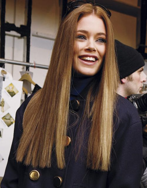 Middle-Parted-Long-Straight-Hair Most Glamorous Long Straight Hairstyles for Women