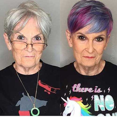 Multi-Colors Short Haircuts for Older Women 2019