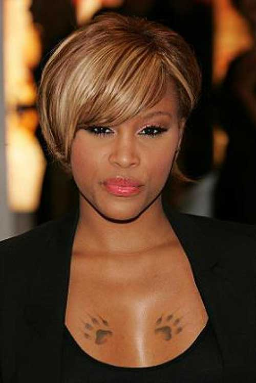 Short-Blonde-Haircut-with-Bangs-for-Black-Women New Short Hairstyles With Bangs For Black Women