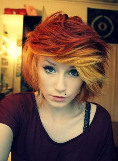Short-Cute-Hairstyle-for-Thick-Red-Orange-Bob-Hair-Idea Cute Short Hairstyles For Thick Hair