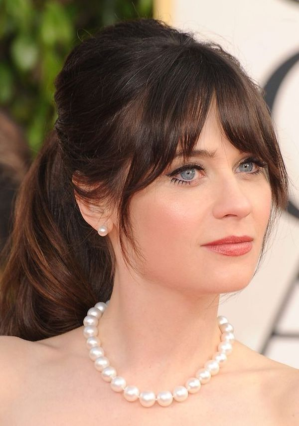 Asymmetric-Front-Bangs-with-a-Puffed-Ponytail Most Beautiful Wedding Hairstyles with Bangs