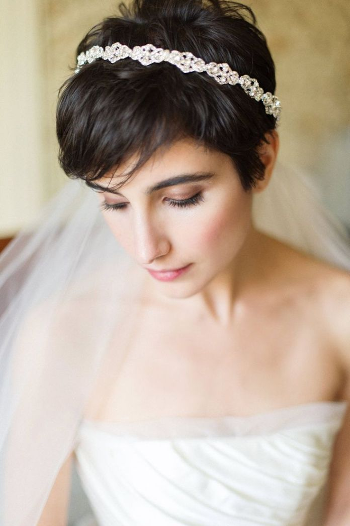 Bangs-with-Very-Short-Hair-Accessorized-and-a-Silver-Headband Most Beautiful Wedding Hairstyles with Bangs