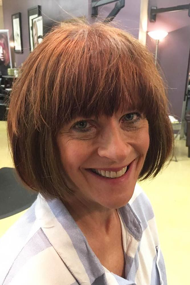Blonde-Bob-with-Fringe Easy Hairstyles for Women Over 50