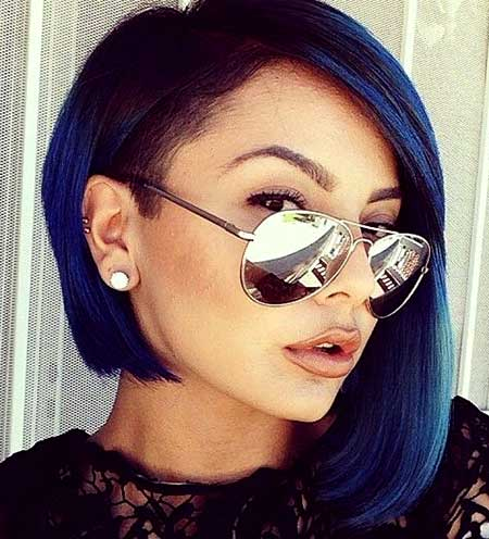 Blue-Colored-Asymmetrical-Hairstyle-for-Girls Short Hair Colors Ideas 2020