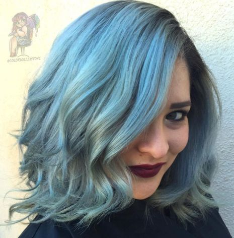 Blue-Medium-Length-Waves 12 winning looks with medium hairstyles for round face