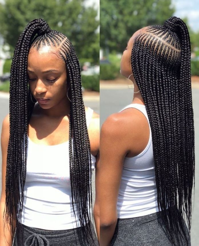 Box-Braid-with-a-Ponytail Tribal Braids for Super Trendy Appearance