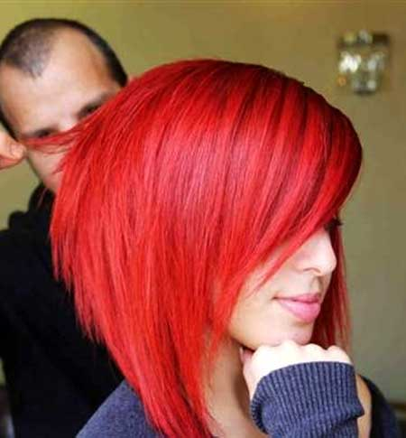 Bright-Red-Colored-Short-Bob-Hair Short Hair Colors Ideas 2020