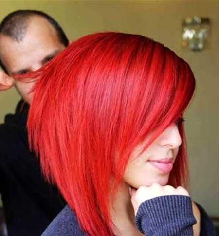 Bright-Red-Colored-Short-Bob-Hair Short Hair Colors Ideas 2020