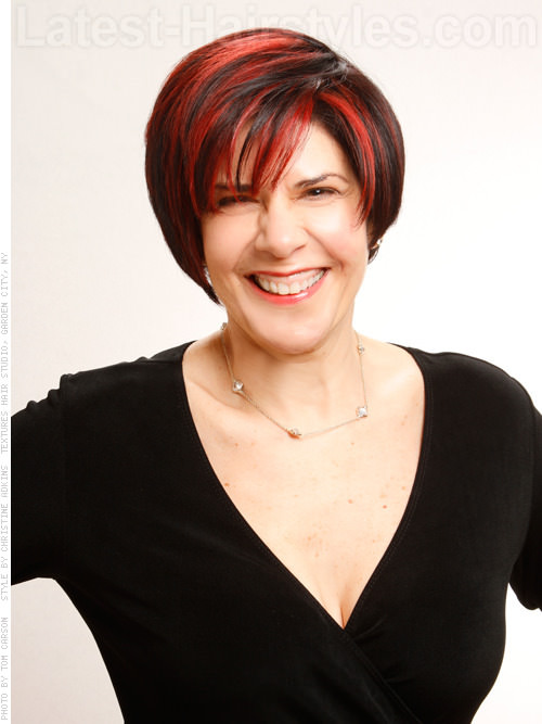 Cherry-Red-Asymmetry Short hair – Perfect choice for women over 40