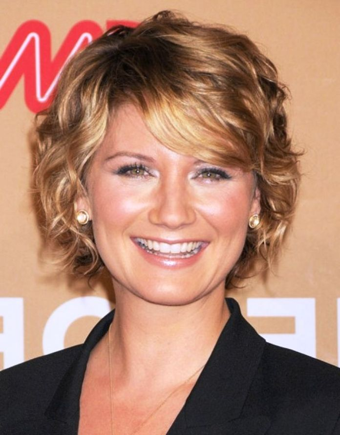 Curly-Blonde-Hair-with-Side-Swept-Bangs Curly Hairstyles for Women Over 50