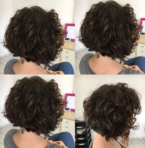 Cute-Brunette-Bob-with-Scrunched-Waves Short Haircuts For Thick Hair