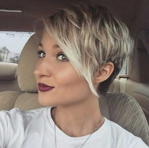 Cute-Girl-Hairstyle-for-Short-Hair-with-Long-Side-Bangs Cute Short Hair Cuts For Girls