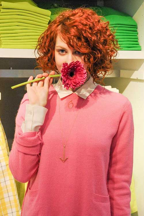 Cute-Red-Naturally-Curly-Bob Cool Short Red Curly Hairstyle