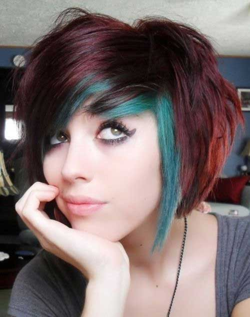 Cute-Short-Purple-and-Green-Hair Short Trendy Hairstyles 2020