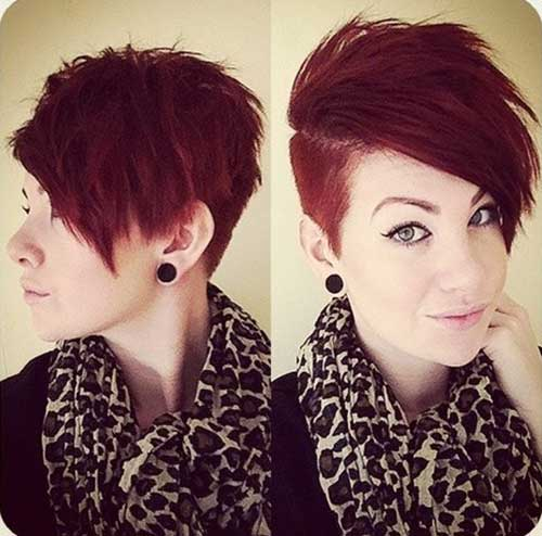 Cute-Short-Red-Pixie-Cut-with-Shaved-Side-for-Girls Cute Short Hair Cuts For Girls