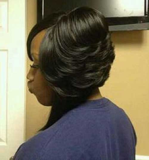 Cute-Thick-Layered-Black-Bob-Hair Black Girl Bob Hairstyles