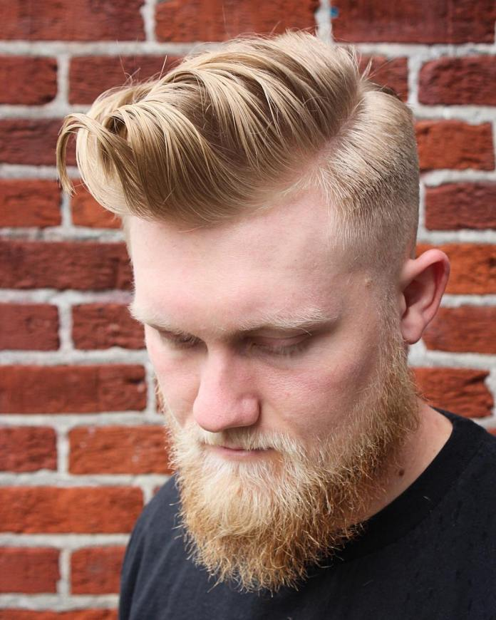 Exemplary-Pompadour-with-Drop-Fade Mens Hairstyles with Thin Hair for Ultra Stylish Look