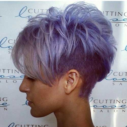 Faded-Undercut-Greyish-Colored-Hair-style Short Hairstyle Color Ideas