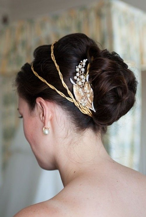 Gold-Band-Leaf-Bun 15 Stunning Bridal Hairstyles