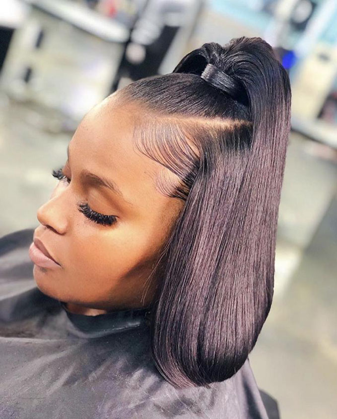 Half-Up-Ponytail-with-Bob-Haircut Bob Hairstyles for Black Women for Rocking Look