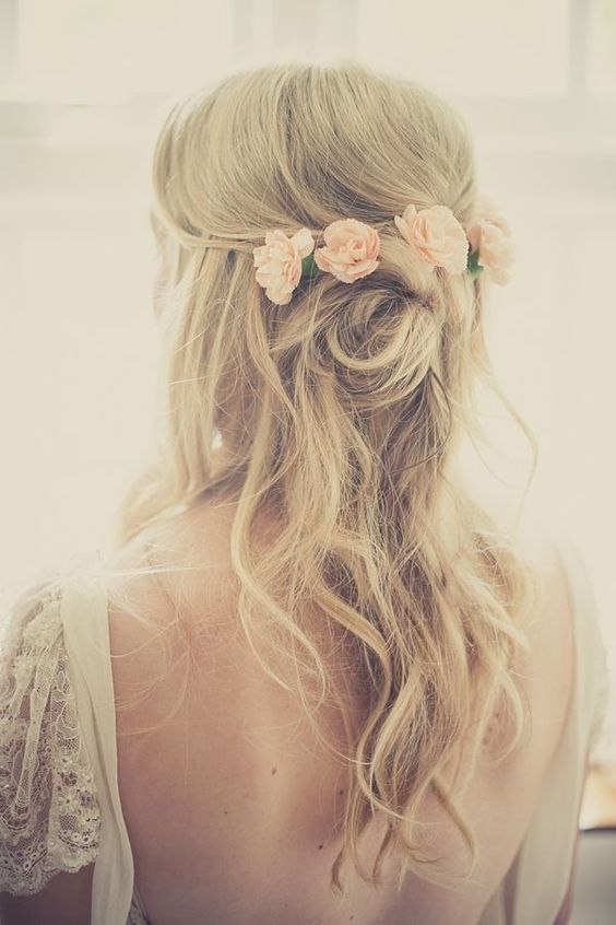 Half-up-and-half-down 15 Stunning Bridal Hairstyles