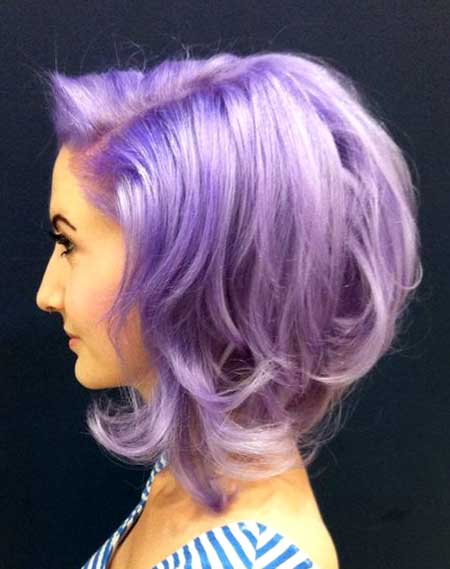Lavender-Colored-Short-Curly-Hair Short Hair Colors Ideas 2020