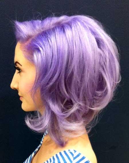 Lavender-Colored-Short-Curly-Hair Short Hair Colors Ideas 2020