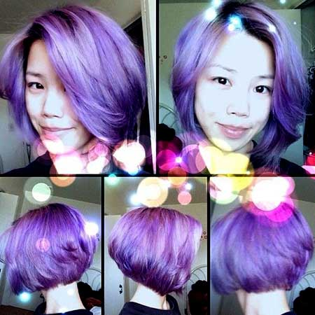 Light-Purple-Colored-Short-Wavy-Bob-Hair Short Hair Colors Ideas 2020