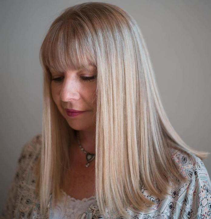 Long-Straight-Blonde-Hair Gorgeous Hairstyles and Haircuts for Women Over 40
