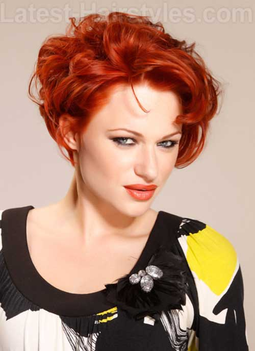Modern-Red-Curly-Layered-Short-Hair Cool Short Red Curly Hairstyle
