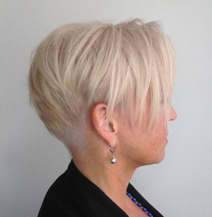 Platinum-Pixie-with-Shaved-Nape Gorgeous Hairstyles and Haircuts for Women Over 40