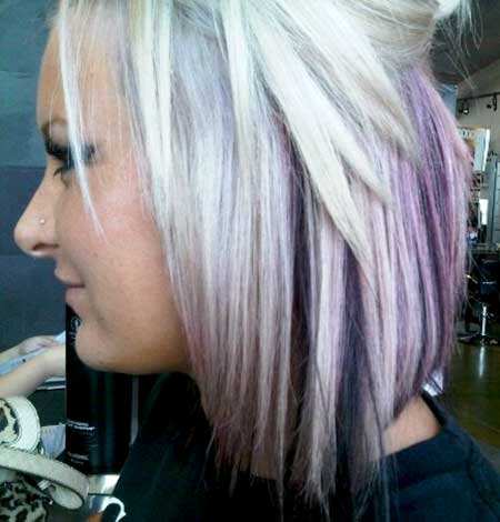 Purple-and-Gray-Colored-Straight-Hairstyle Short Hair Colors Ideas 2020