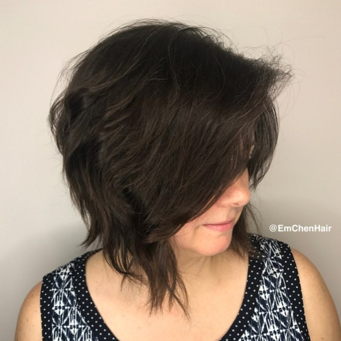 Razored-Wavy-Bob Gorgeous Hairstyles and Haircuts for Women Over 40