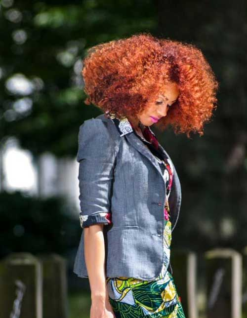 Red-Curly-Afro-Thick-Bob Cool Short Red Curly Hairstyle