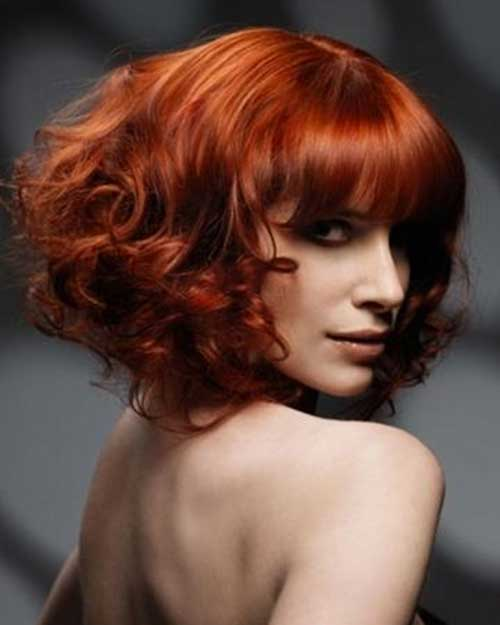 Red-Curly-Bob-Style-with-Blunt-Bangs Cool Short Red Curly Hairstyle