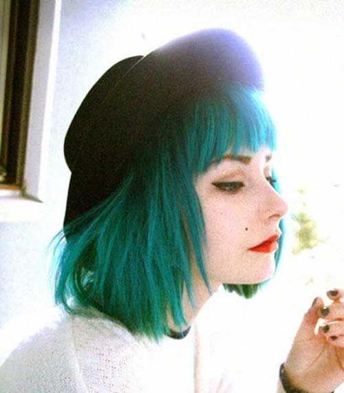 Short-Green-Bob-Hair-Style Short Hairstyle Color Ideas