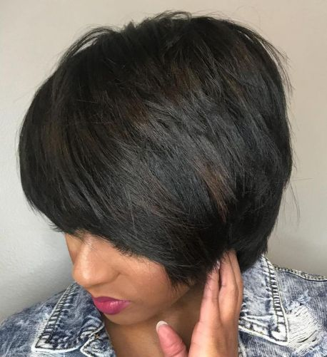 Short-Layered-Black-Bob-with-Thick-Bangs 15 On-trend Bob Haircuts For Black Women