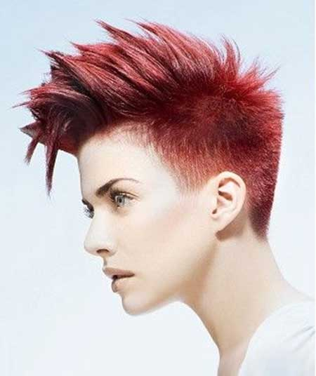 Short-Vibrant-Red-Mohawk Short hair color ideas