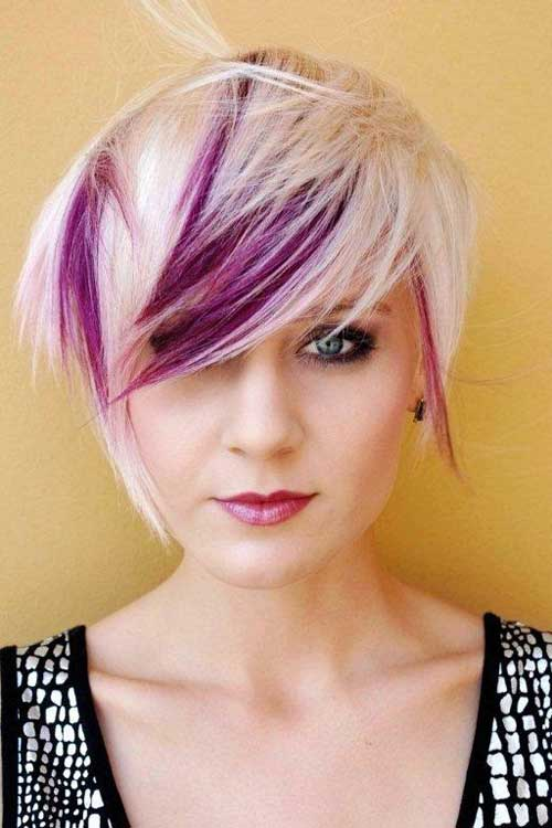 Short-blonde-and-purple Best Hair Color for Short Hair