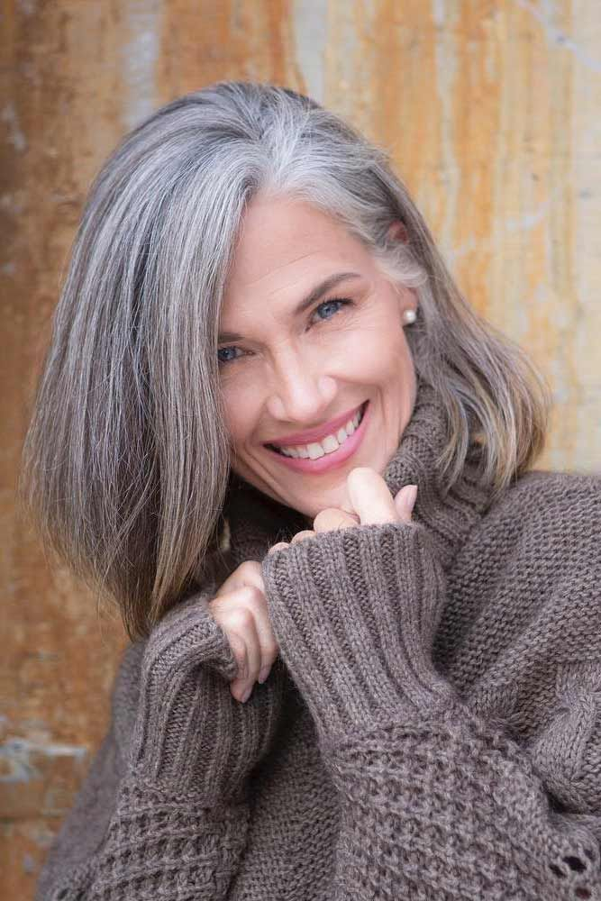 Side-Swept-Grey-Long-Bob Easy Hairstyles for Women Over 50