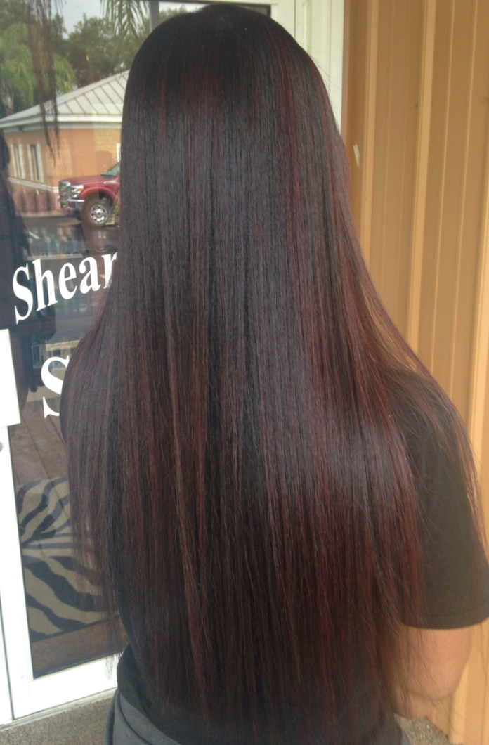 Straight-Brown-Shades-in-Black-Hair Most Beautiful Black Hairstyles with Highlights
